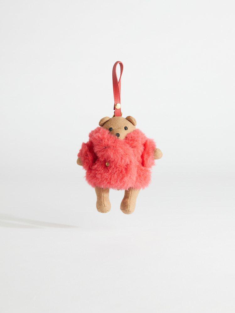 #MaxTheTeddy系列珊瑚紅色泰迪熊吊飾,售價10,800元。圖/Max ...