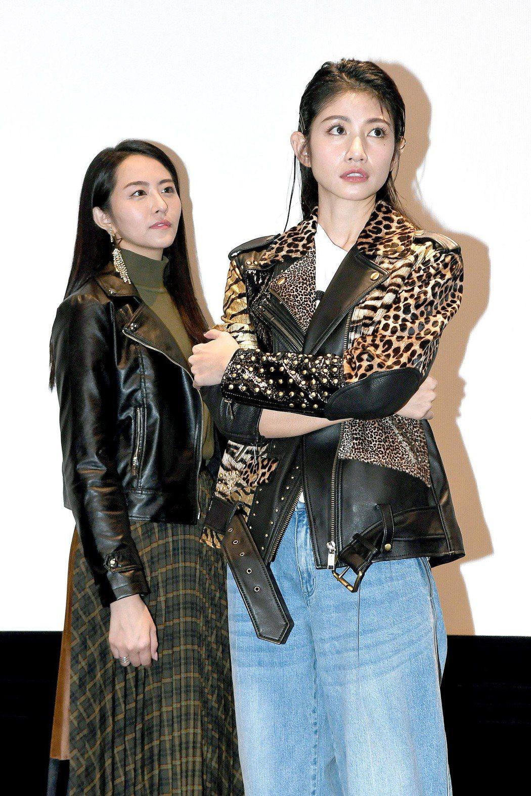 李千那(右)、吳品潔出席新戲「守著陽光守著你」試片會。圖/華視提供