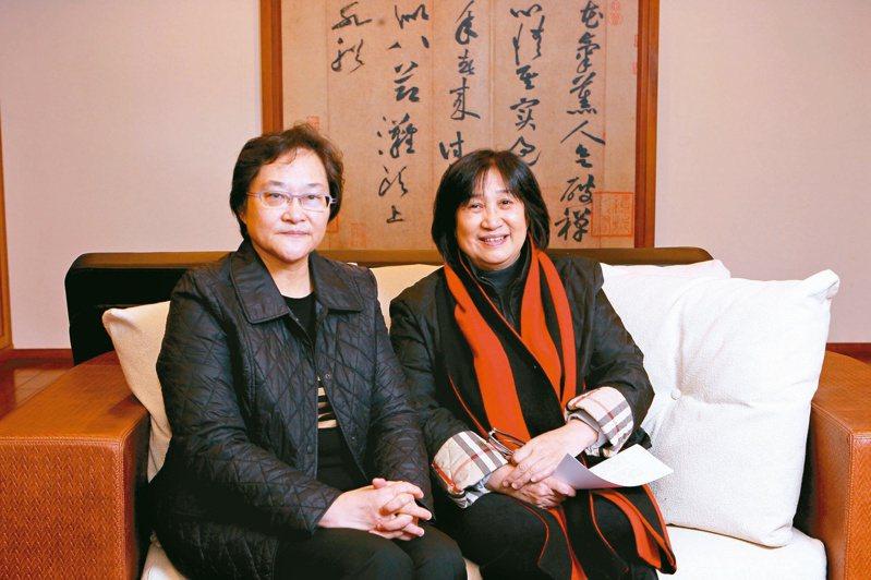 2014年,《文訊》雜誌到立緒採訪,發行人郝碧蓮(左)與總編輯鍾惠民合影。(圖/文訊提供)