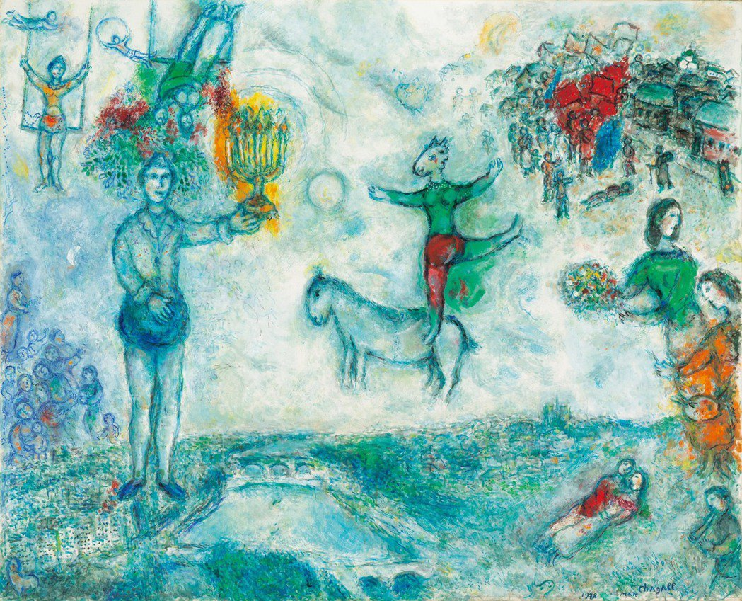 馬克•夏卡爾《巴黎風景》,油彩,蛋彩,畫布1978年作。首爾拍賣/提供