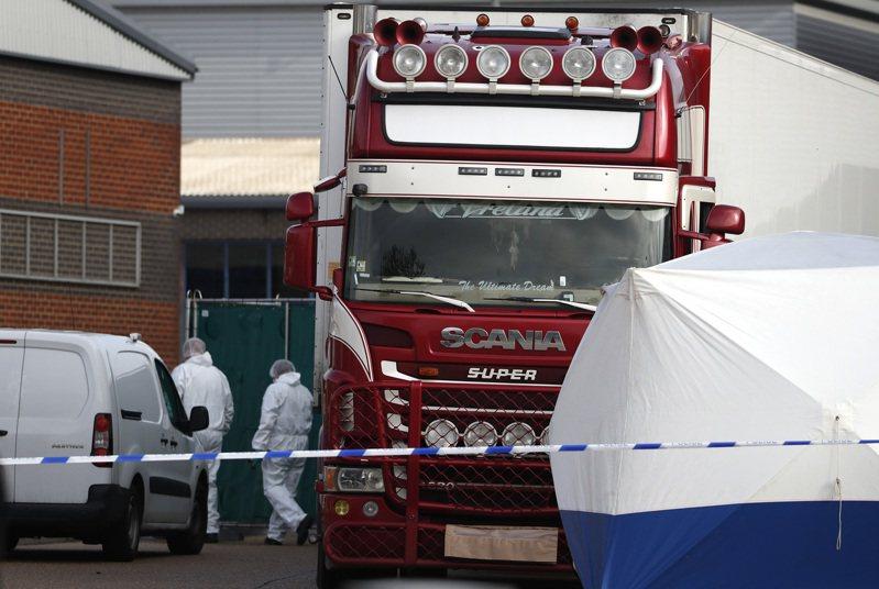 英國艾塞克斯郡(Essex)10月23日發生冷凍貨櫃車命案。 美聯社