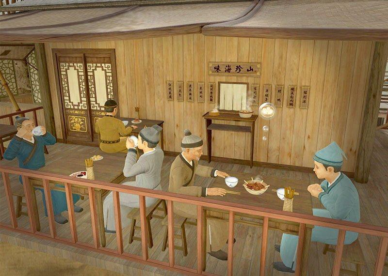觀眾可透過VR虛擬實境,感受清明上河圖畫中市井人物的生活百態。 圖/故宮博物院提供