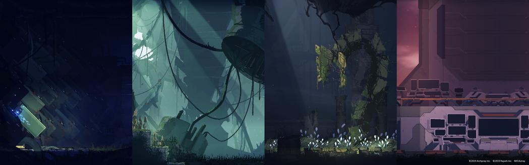 由左至右分別為第一章到第四章的環境風格。