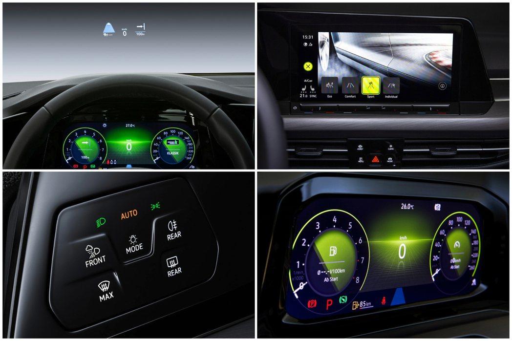 第八代Volkswagen Golf可選配全彩HUD抬頭顯示器。 摘自Volks...
