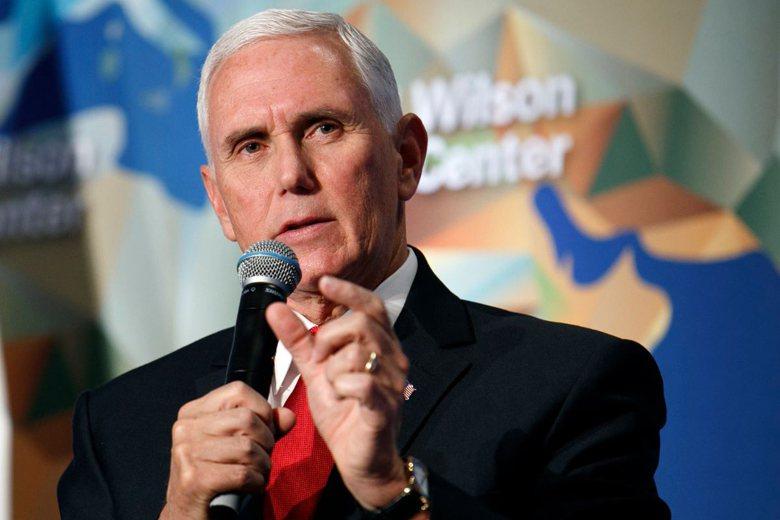 美國副總統彭斯(Mike Pence)於美東時間24日在華府發表有關中國議題演說。 圖/美聯社