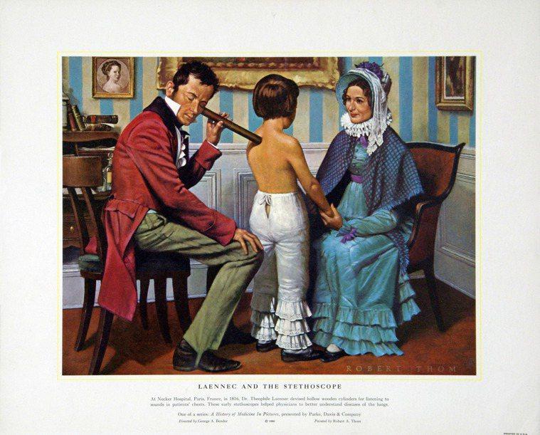 法國醫生雷奈克在1816年發明聽診器,如今舊式聽診器面臨式微的命運。 (美聯社)