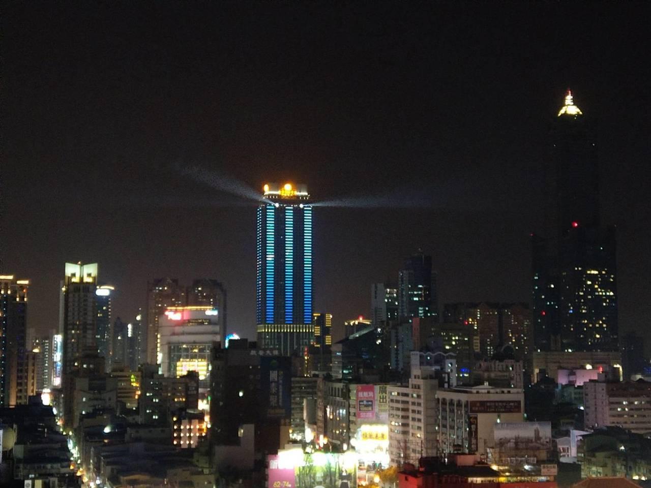 遠雄企業在高雄推新地標,今天晚上在高雄舉辦遠雄THE ONE點燈儀式,在地上 6...