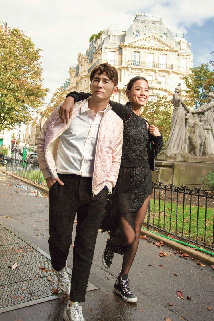 溫昇豪和王麗雅身穿夏姿2019秋冬季服裝,街拍宛如偶像劇劇照。圖/夏姿提供