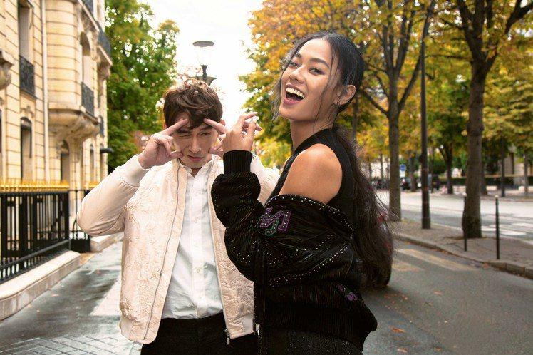 溫昇豪和王麗雅在巴黎演繹夏姿2019秋冬季服裝,展現絕佳默契。圖/夏姿提供