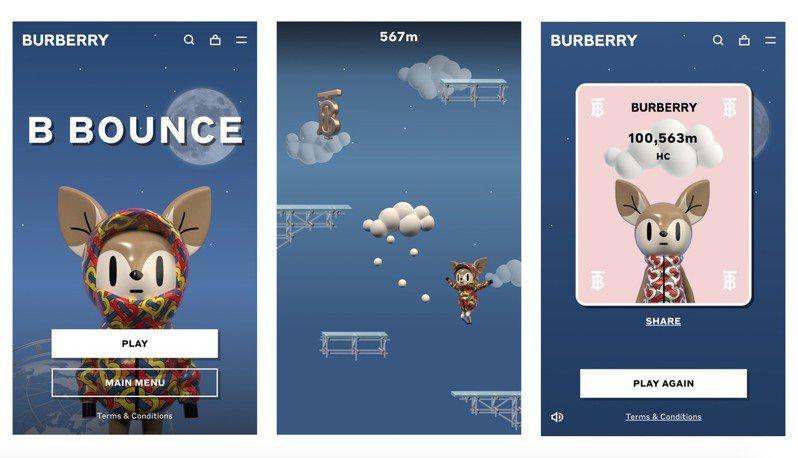 BURBERRY推出首款全球線上遊戲「彈跳小鹿」,用以宣傳花押字印花羽絨特選系列。圖/BURBERRY提供