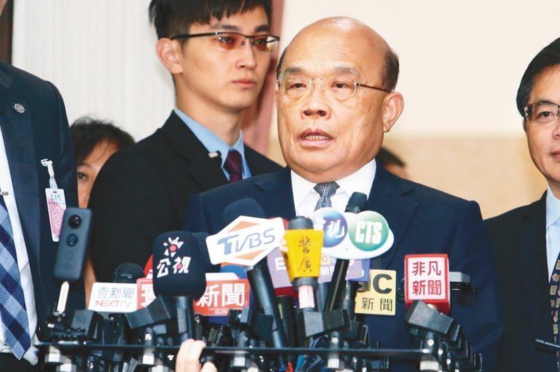針對陳同佳案,行政院長蘇貞昌在立法院表示,「現在照妖鏡一照,魔鬼和魔鬼中的魔鬼一一現形」。他還「哼」了一聲,隨即轉頭進入議場。 圖/聯合報系資料照片
