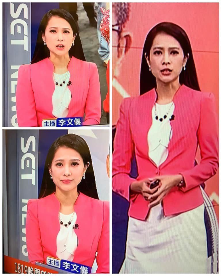 李文儀播報新聞時的服裝,遠看像是胸前有隻吉娃娃。 圖/擷自爆料公社