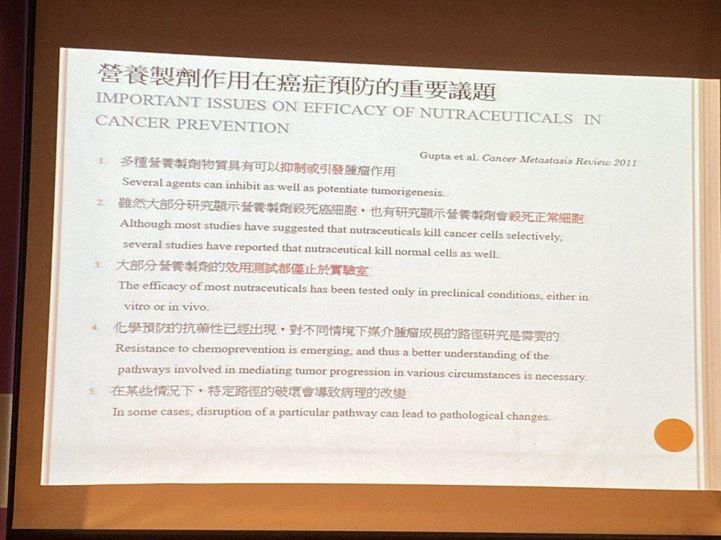 王正旭表示,營養製劑能影響癌細胞成長過程中,單一或多個發炎因子的作用。記者簡浩正...