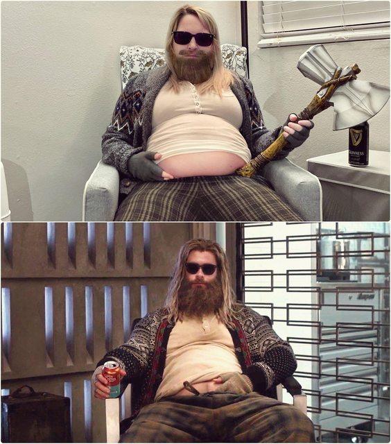網友FingalMyDopple秀出自己的萬聖節裝扮,致敬「復仇者4」的肥宅索爾