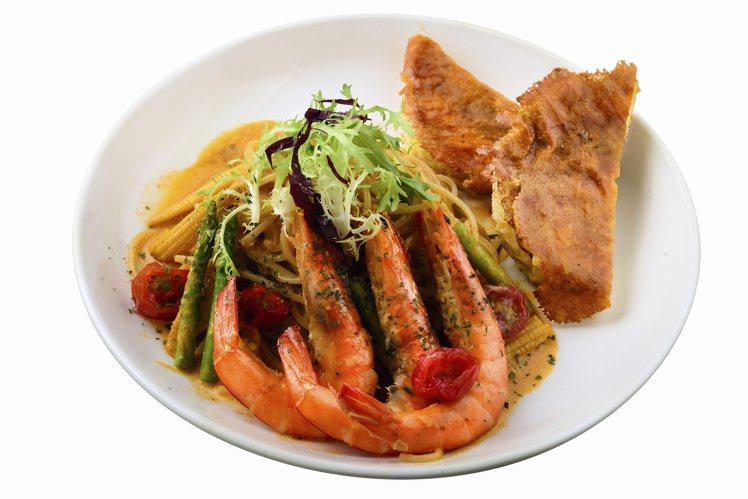 「奶油番茄鮮蝦義大利麵」售價380元。圖/Ivorish提供