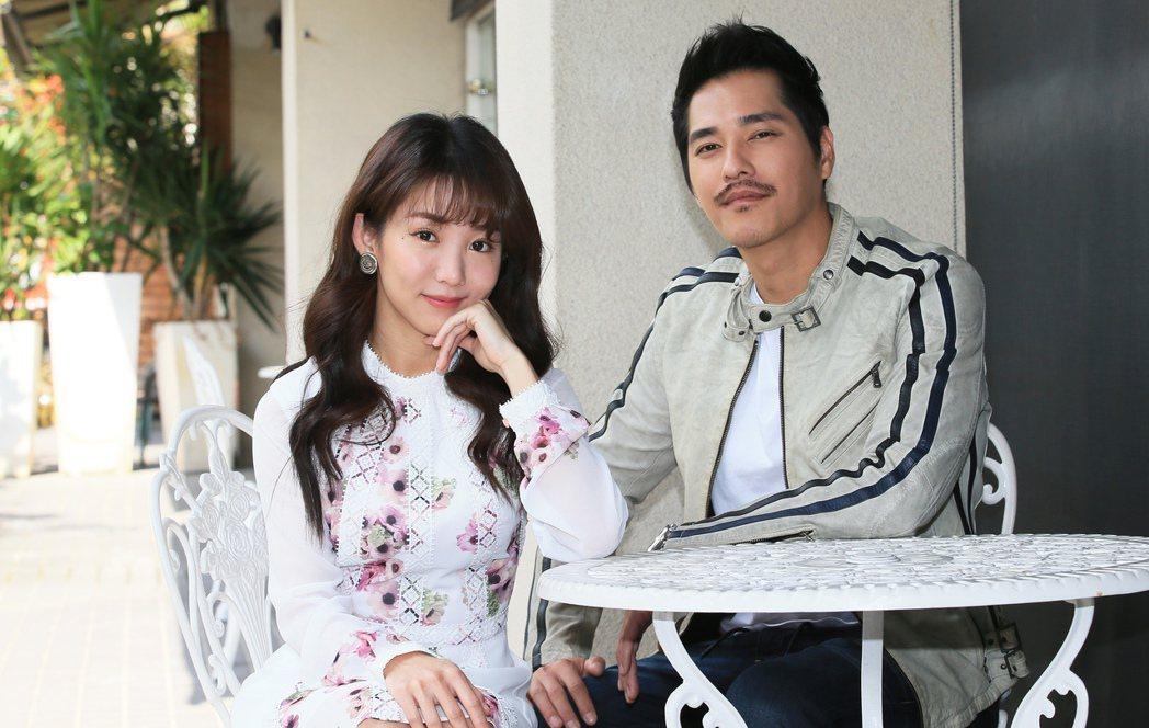 藍正龍(右)首次執導電影找郭書瑤擔任女主角。記者潘俊宏/攝影