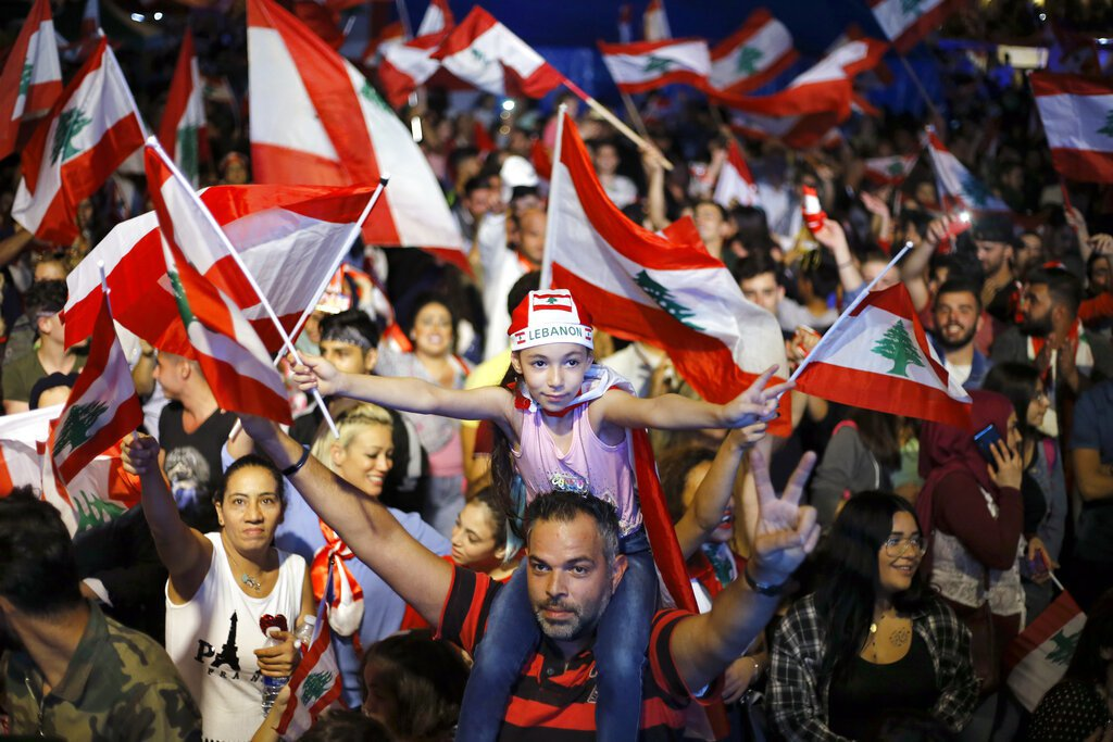 黎巴嫩抗議民眾。美聯社