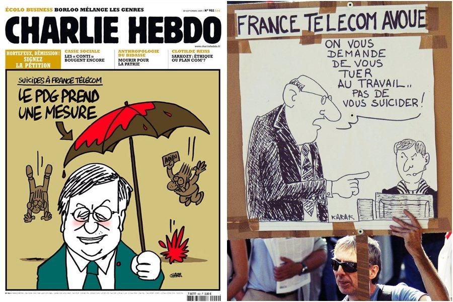 圖左:法國諷刺雜誌《查理周刊》繪圖嘲諷法國電信與隆巴德的恐怖管理;圖右:2009...