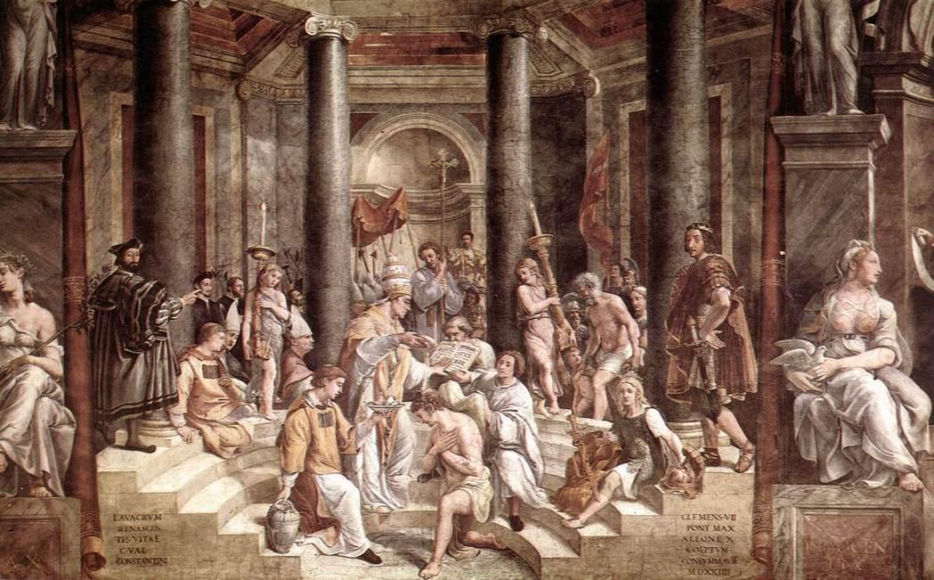 圖為君士坦丁大帝臨終前不久,受洗成為基督徒(亞流教派)。君士坦丁大帝頒布《米蘭敕...