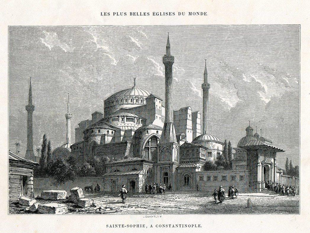 圖為1857年的聖索菲亞大教堂。現今位於伊斯坦堡的聖索菲亞大教堂,在拜占庭帝國時...
