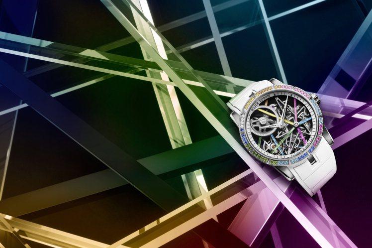 羅杰杜彼亞洲限定版Excalibur Blacklight Rainbow鏤空自...