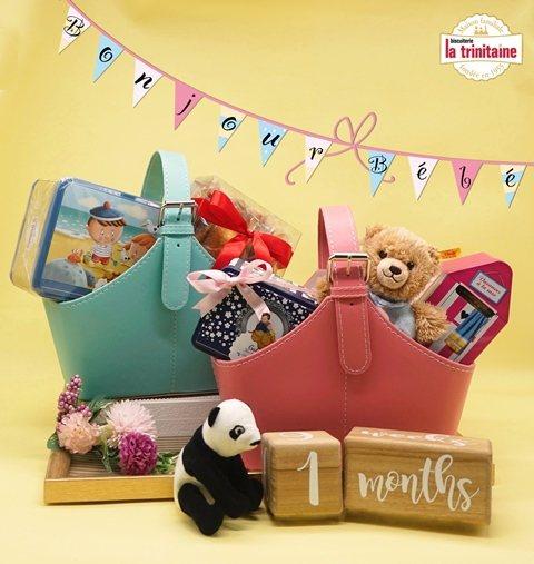 可愛的彌月推薦禮籃,內含布列塔尼餅乾及瑪德蓮,分享初生的喜悅,吃完後還可儲物或收...