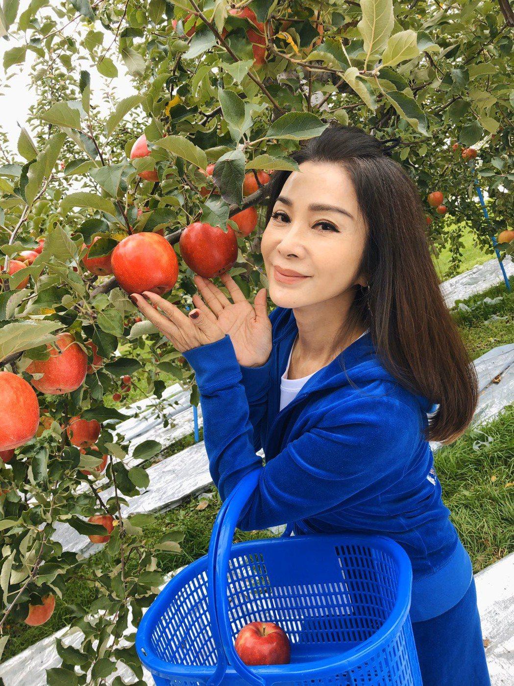 陳美鳳開心和蘋果合照。圖/民視提供