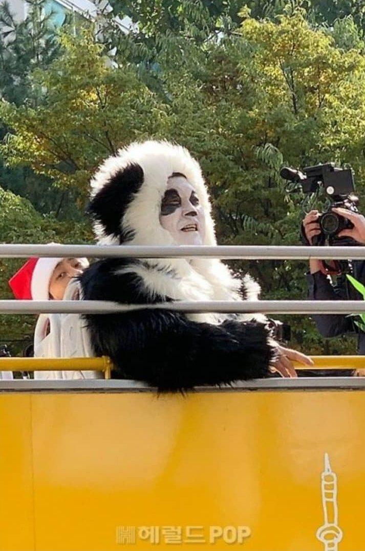 姜虎東變身熊貓。圖/摘自heraldpop