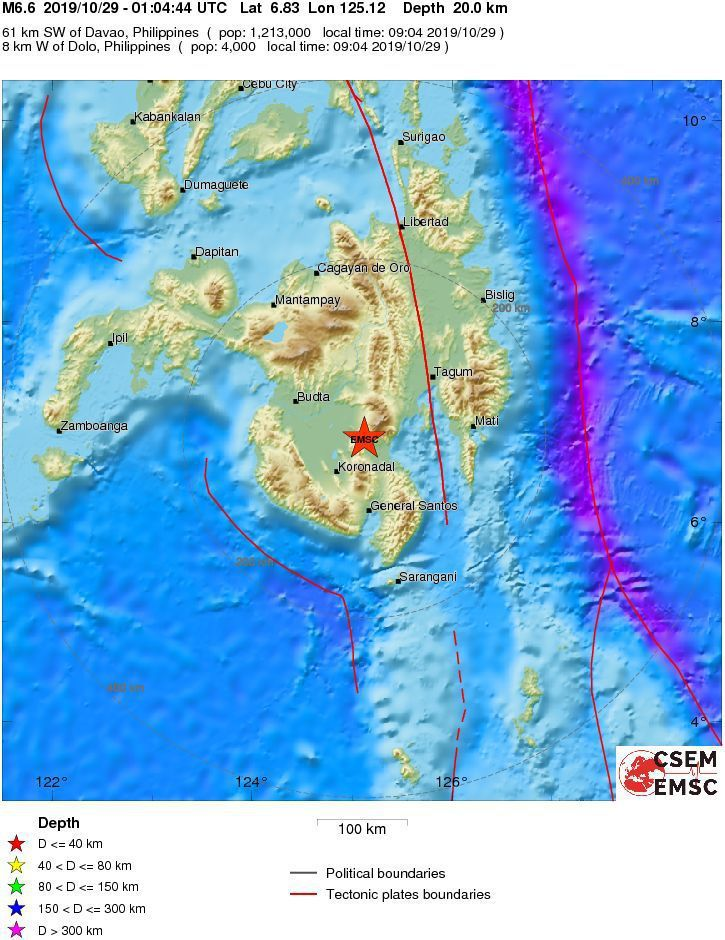 菲律賓南部民答那峨島,今天早上發生規模6.6地震。圖擷自<a href=https://www.emsc-csem.org/Earthquake/earthquake.php?id=801696#map target=