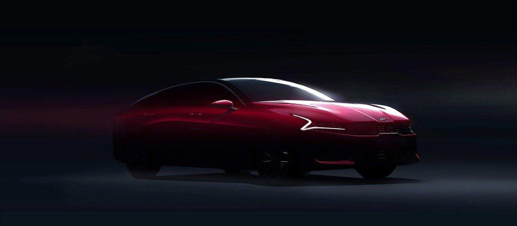 新世代Kia K5/Optima預告剪影照。 摘自Kia