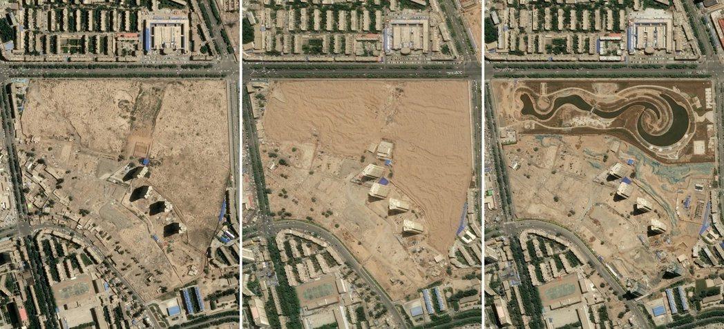 圖左至右分別為2015年、18年及19年,阿克蘇地區沙雅縣的維吾爾墓地,遭剷除改...