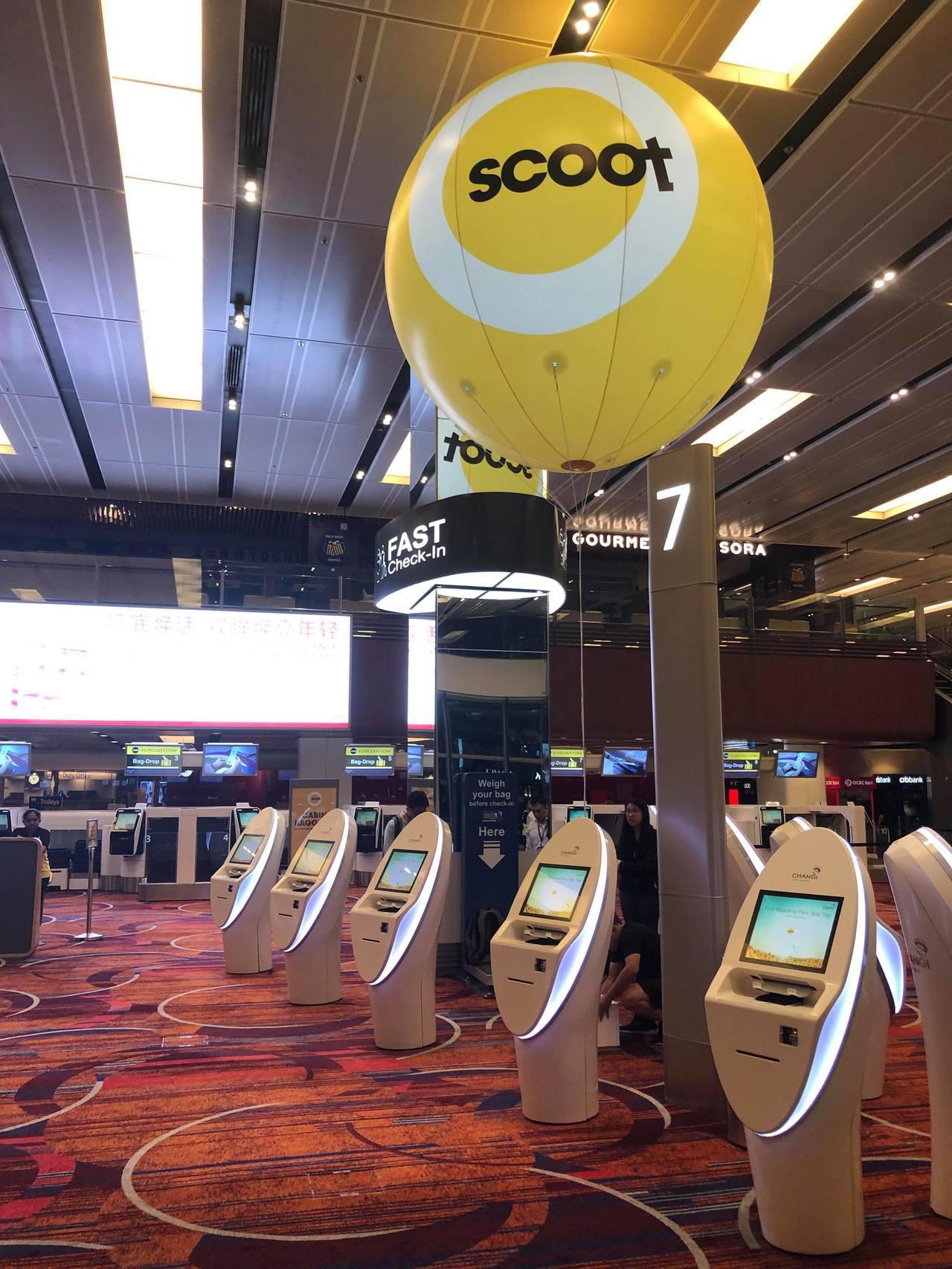 酷航目前新加坡基地已經搬到樟宜機場第一航廈,並有多項新設施提供旅客使用。圖/酷航...