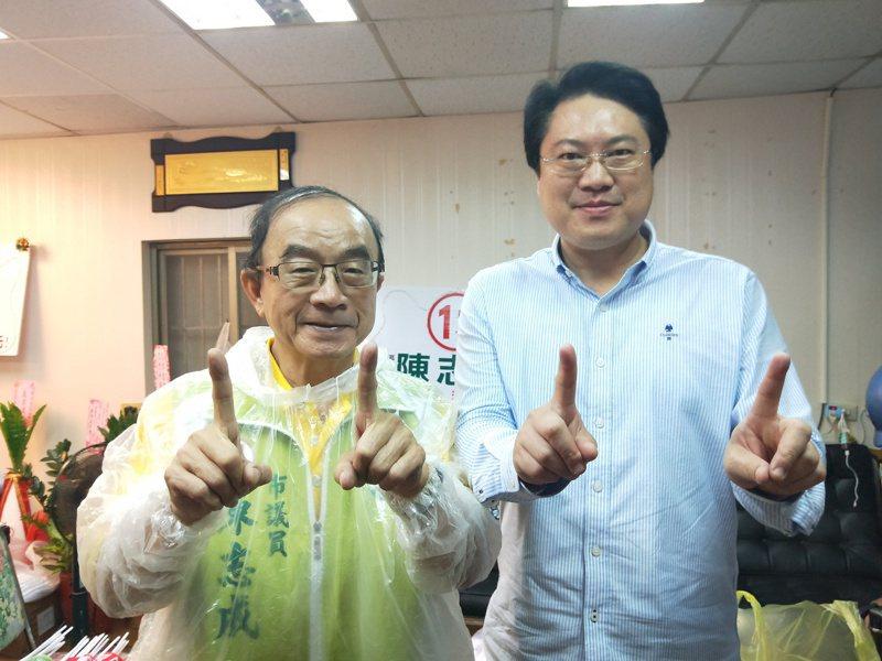 6連霸前議員陳志成(左)掛台灣維新黨選基隆立委,恐衝擊民進黨票源。圖/報系資料照