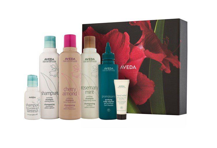 AVEDA「黃胸黑翅螢」禮盒包含頭皮淨瑕潔膚凝膠150ml、迷迭薄荷洗髮精250...