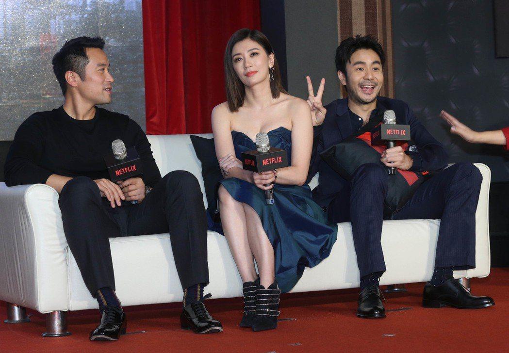 《罪夢者》上線記者會,演員章立衡(右起)、賈靜雯、張孝全。記者林俊良/攝影
