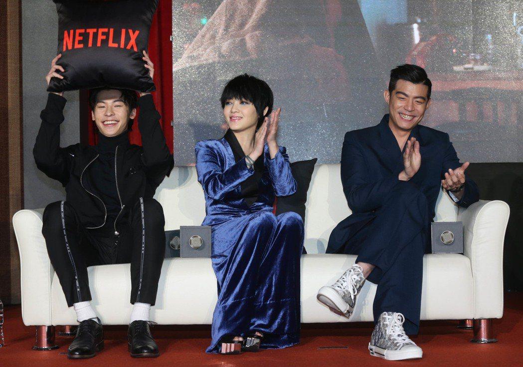 《罪夢者》上線記者會,演員王柏傑(右起)、范曉萱、許光漢一同出席亮相。記者林俊良...