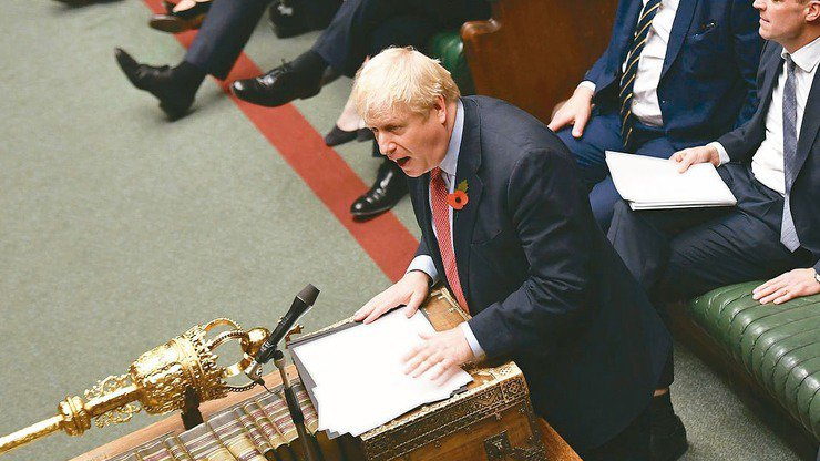 強生盼團結完成脫歐。英國國會下議院29日同意首相強生提前於12月12日改選國...