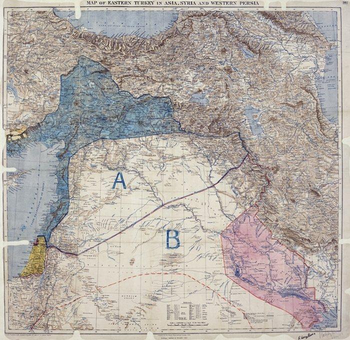 1916年,英法兩國外交官簽訂賽克斯—皮科協定,畫定中東勢力範圍。 圖/維基共享