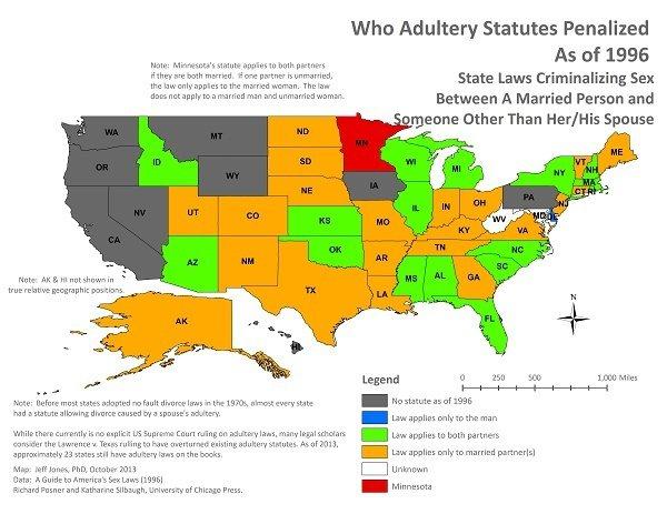 這張地圖顯示美國對通姦罪仍有刑罰的州 引自 英文維基 通姦罪
