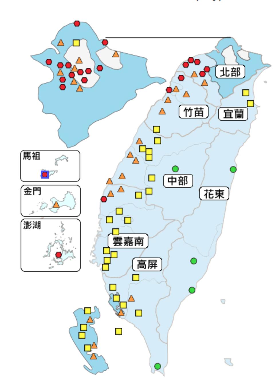 今天中午全台有22個空品測站陷入紅害。圖/取自空品監測網