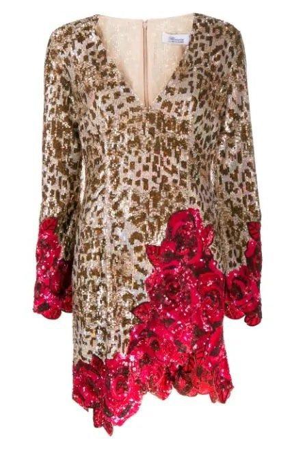豹紋玫瑰拼接亮片短洋裝,17萬7,000元。圖/Blumarine提供