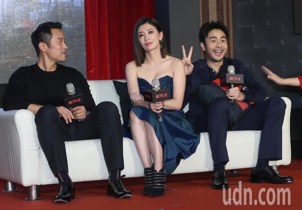《罪夢者》今天舉辦上線記者會,演員章立衡(右起)、賈靜雯、張孝全。記者林俊良/攝...