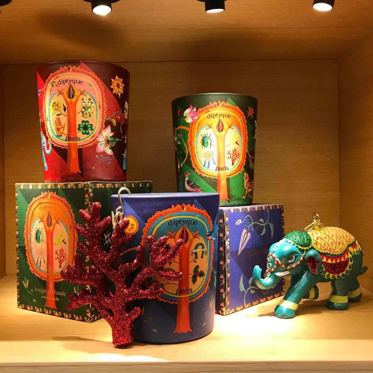 diptyque 2019耶誕限定的3款香氛蠟燭各自與有不同的幸運符號。記者陳立...