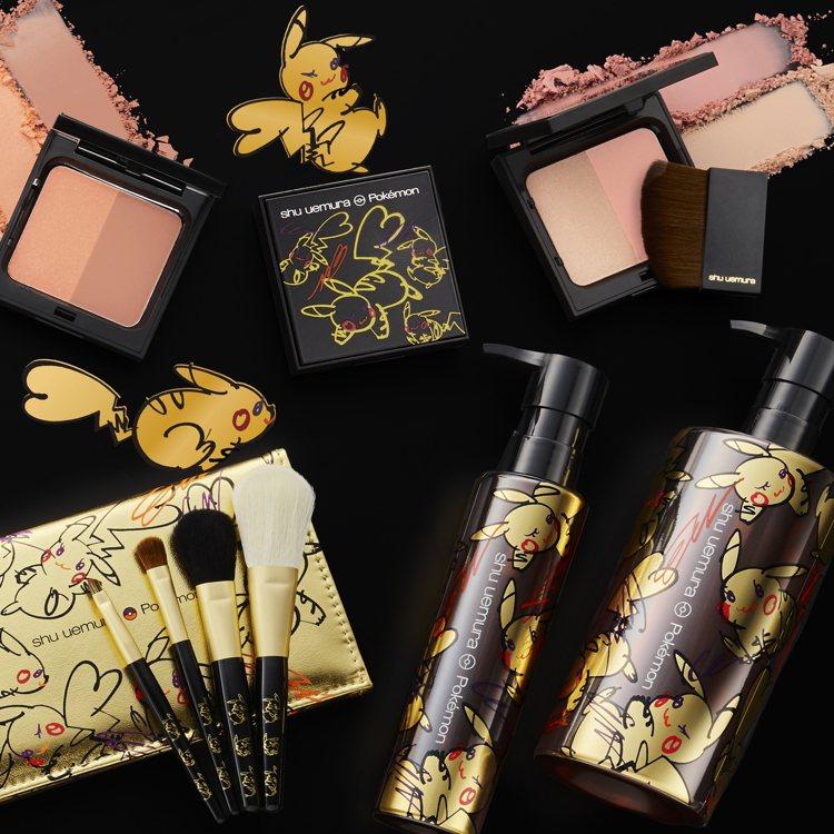 植村秀X寶可夢系列商品中包含了唇膏、眼影盤、彩妝箱與睫毛夾、卸妝油。圖/植村秀提...