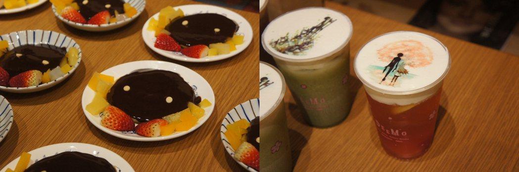 《DEEMO》特展主題餐點─鬆餅、櫻花汽水。