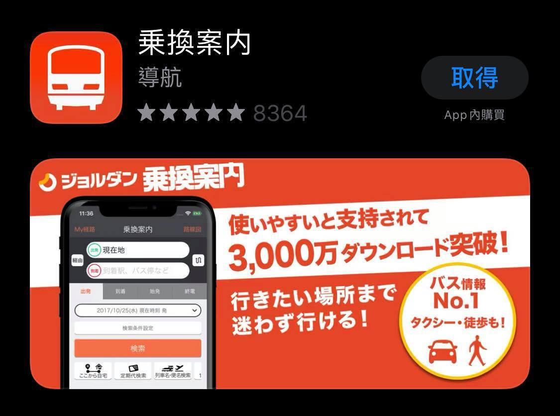 「乘換案內」解決交通麻煩。圖/取自App Store