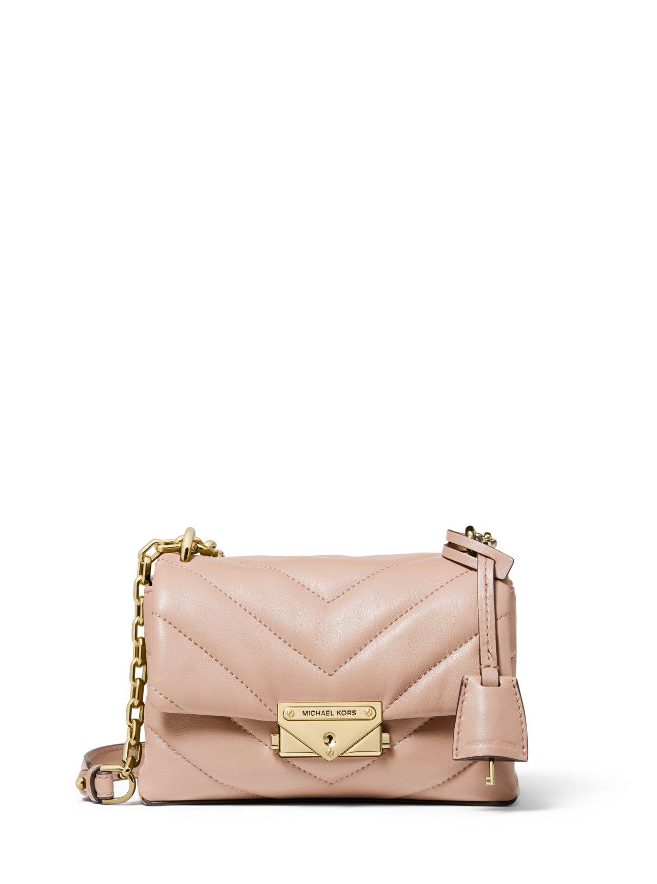 CECE粉膚色縫衍小羊皮鍊包,售價14,000元。圖/MICHAEL KORS提...