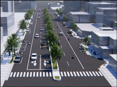 嘉義市議員蔡文旭說,若吳鳳南路採取中央分隔島,車輛可分流。圖/蔡文旭提供
