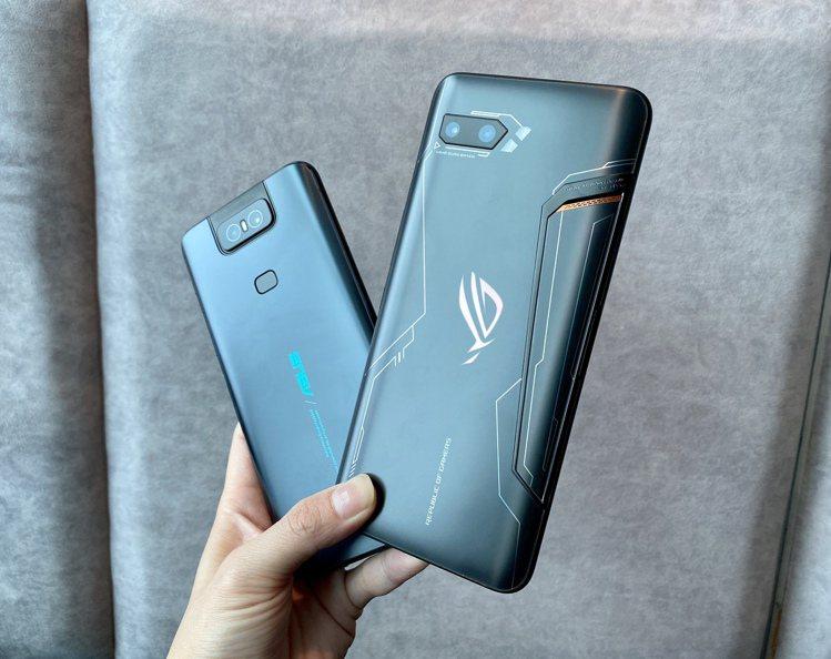 除了紳士黑旗艦版ROG Phone II(右),ASUS ZenFone 6(左...