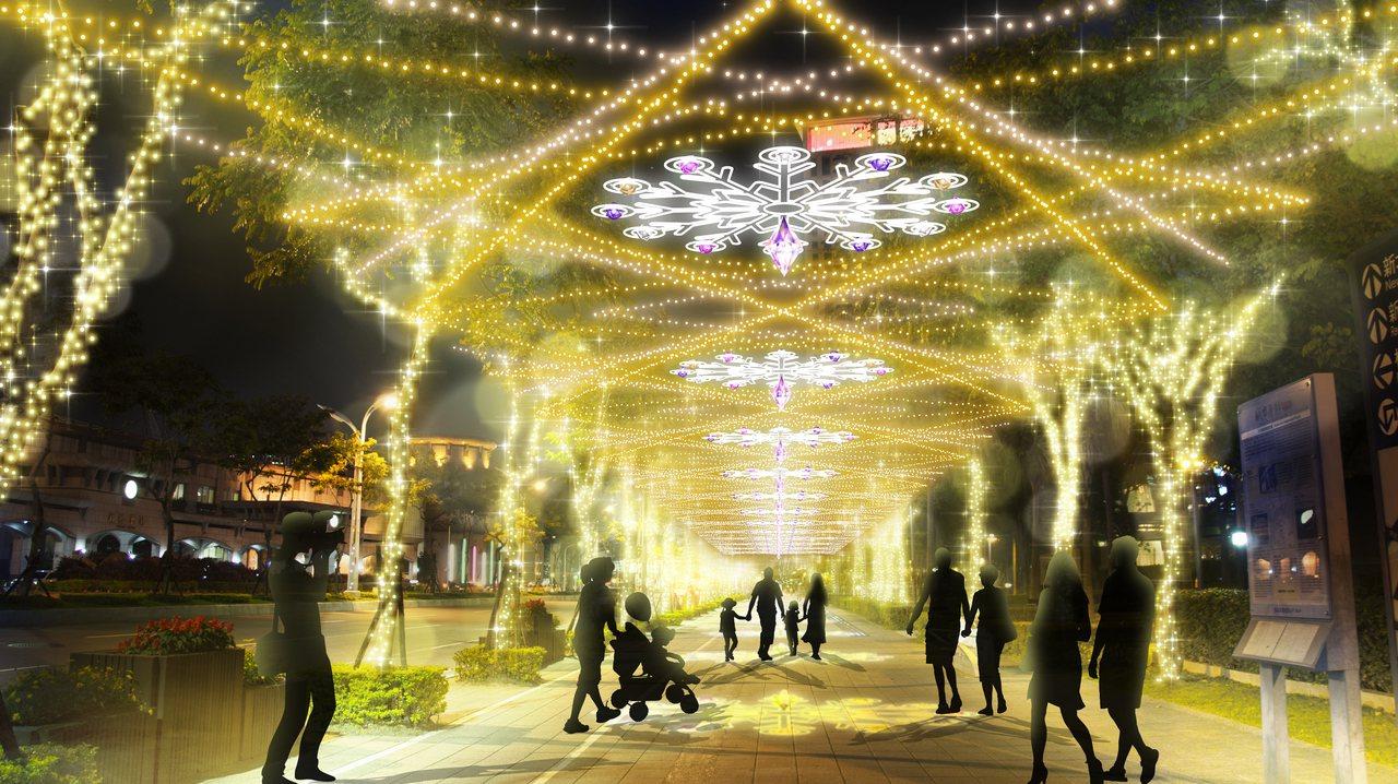 市民廣場周邊的燈飾佈景。圖/新北市政府觀光旅遊局提供